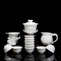 seramik çini toptan satış-Kemik Çini Seramik Kung Fu Çay Seti Hediye Rölyef Ejderha Porselen Gaiwan Çay Bardak ile Çay Takım 14 adet
