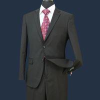 botones de valores al por mayor-STOCK EN EE. UU. Hombres Trajes de boda Fit Two Buttons Dos piezas con pantalones Mezcla de lana Esmoquin Moda novio Trajes de carrera de negocios ST002