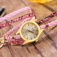 Wholesale black rivet watch - Women's Casual Vintage Multilayer Wristwatch Weave Wrap Rivet Leather Bracelet Wrist Watch