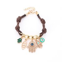 Wholesale evil eye jewelry for men resale online - Hamsa Hand Evil Eyes Rope Bracelet Fatima Palm Knitted Knot Chain Bracelets Jewelry Gift for Men Women Cheap DHL FREE Christmas Gift
