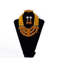 ingrosso orecchini di cristallo giallo del branello-Perline di cristallo giallo di lusso set di gioielli da sposa classico etnico moda matrimonio africano collana di perline braccialetto set di orecchini per le donne