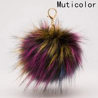 реальный меховой брелок оптовых- 13cm Fluffy Raccoon Fur Ball Keychain Real Fur Keychain Pom pom Key Chain Pompom Keyring Charm Women Bag Pendant Dec