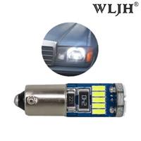 Wholesale Led Car Bulb Ba9s - WLJH No Polarity Canbus Error free Ba9s Led Lamps 3W 15 4014SMD 12V Car Instrument Parking Marker LED Light Bulbs Pure White