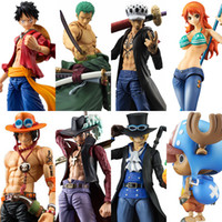 Wholesale one piece law toys online - MegaHouse Variable Action Heroes One Piece Luffy Ace Zoro Sabo Law Nami Dracule Mihawk PVC Action Figure Collectible Model Toy