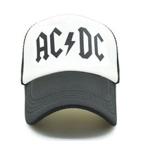67b8ad8141b Wholesale adjustable hat bands online - Men Women Cool Trucker Mesh Caps  ACDC Band Rock Fans
