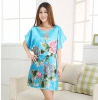mädchen sommer bademantel großhandel-Blue Floral Plus Size Frauen Silk Robe Kleid Lady Girl Sexy Mini Bademantel Nachthemden Sommer Lounge Nachtwäsche One Size NR052