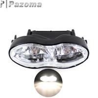 Wholesale custom h3 - Black Glass Lens Twin Wave Headlight Motorcycle Head Light for Custom Streetfighter Cafe Racer Bobbers H3 12V 55W Bulbs