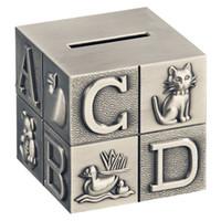 blocos de alfabetos venda por atacado-Alfabeto ABC Bloco Mealheiro para o Bebê Gravado Liga de Zinco de Metal de Poupança de Dinheiro Caixa de Moeda Banco Quarto Decoração Pewter Escova Acabamento