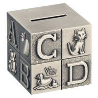 alfabe blokları toptan satış-Bebek için ABC Alfabe Blok Kumbara Kazınmış Çinko Alaşım Metal Tasarruf Para Kutusu Para Banka Odası Dekorasyon Kalaylı Fırça Finish