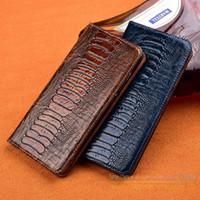 vibe de bolso venda por atacado-Luxo avestruz pé grão phone case para lenovo vibe z2 / k920 mini 5.5 polegada flip stand card bolso casos de capa de couro genuíno