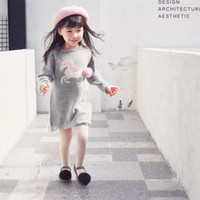 Wholesale american girl knit patterns resale online - baby girls Unicorn wool dress long sleeve knitted dress Unicorn pattern sweater dress Autumn winter clothes