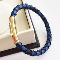 Wholesale men watch strap bracelet leather - Beichong Luxury Men Blue Python Leather Bracelet With Silver Magnet Python Watch Brand Genuine Leather Strap Bracelets Women