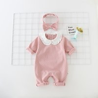 Wholesale baby clothes sizes online - Baby girl clothing romper cotton pet pan collar long sleeve polka dots print romper girl spring fall romper with headband