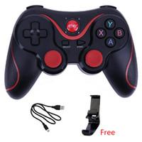 gamepad para pc inalámbrico al por mayor-Joystick inalámbrico Bluetooth 3.0 T3 Gamepad Gaming Controller Control remoto de juegos X3 para Tablet PC Android Smartphone con soporte