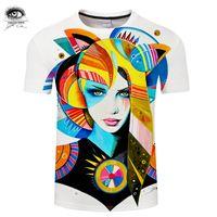 novidade dos tipos camiseta venda por atacado-Nativa Menina por Pixie frio Art T-shirts 3D Homens Camisetas Marca Tshirts Verão Tops Tees Engraçados Novelty Camiseta Masculino