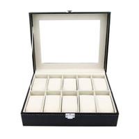 кожаный набор часов оптовых-SZanbana Watch Box Display Case Organizer - 10 Slot  Set with Glass Top Pu Leather Velvet Pillows Metal Lock