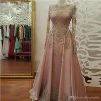foto-riemen großhandel-Real Photo Modest Blush Pink Prom Kleider Langarm Spitze Applikationen Kristall Party Kleider Abendkleidung 2018 vestidos de fiesta