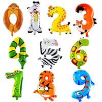 tierzahl ballons großhandel-16 zoll Tier Aluminium Folienballon 0-9 Cartoon Anzahl Kinder Geburtstag Dekoration Helium Ballons Hochzeit Party Decor Liefert 0 72hy YY