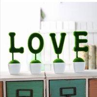 planta em vaso branco artificial venda por atacado-AMOR Coelho Artificial Mesa Esculpida Topiary Planta Set com Vasos De Plástico Branco-Home Decorativo Decoração Do Casamento