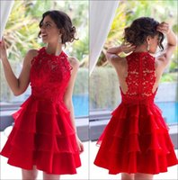 Wholesale red prom dress layered for sale - Group buy 2018 Crew Neck Red Lace A Line Short Homecoming Dresses Organza Layered Knee Length Short Prom Dresses Plus Size Vestidos De Festa BA2953