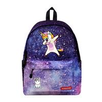 Wholesale print galaxy backpack - WISHOT Cute unicorn Dab Backpack Galaxy School Bags Fashion Students Backpack Travel Bag for teenagers Stars Printing