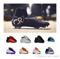 ingrosso tacchetti da calcio-Scarpe da calcio 100% Original Red Rainbow Rainbow CR7 Mercurial Superfly V FG Tacchetti da calcio Stivaletti da calcio per caviglia Ronaldo Sports Sneakers
