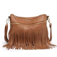 Wholesale cheap china phones online - Oline Discount Cheap Designer Handbags on Sale in China Tassel Bag Zipper Pocket PU Crossbody Shoulder Handbag FLD1828