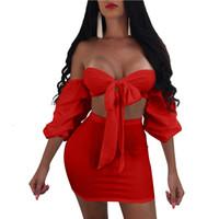 faldas abiertas al por mayor-Vestido de dos piezas sexy de verano con 5 nuevos colores de otoño, cintura alta y manga abullonada con falda de encaje y espalda abierta.