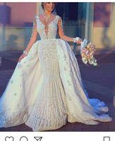 Wholesale Asymmetrical Train Wedding Dress - 2018 New Luxury Arabic Ball Gown Detachable Wedding Dresses Long Sleeves Lace Appliques Beading Puffy Chapel Train Plus Size Bridal Gowns