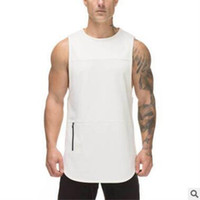Wholesale mens sleeveless tees - Brand mens sleeveless t shirts High Quality Summer Cotton Male Tank Tops gyms Clothing Bodybuilding Undershirt Fitness tanktops tees