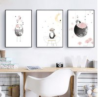 Wholesale pictures cartoon flowers for wall resale online - kids Girl Poster Cute Wall Art Print Girl With Flowers Cartoon Canvas Painting Lovely Picture For Baby Girls Room