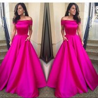 Wholesale Evening Night Dress - High Quality Hot Fuchsia Pink Prom Dress with Pockets Off Shoulder Long A Line Night Gown New Arrival Custom Made Evening Party Dresses