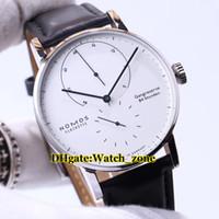 hochleistungsuhren großhandel-Neue Nomos Lambda Glashütte 931 Gangreserve Weißes Zifferblatt Nicht Datum Automatische Herrenuhr Lederband Hohe Qualität Günstige Neue Uhren