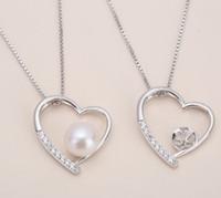 collar colgante de montaje al por mayor-1 pieza de colgante de plata de ley maciza de circón, montaje colgante de patrón de corazón, collar en blanco para perla, joyería DIY, regalo DIY