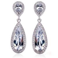 ingrosso orecchini di goccia austriaci-Orecchini pendenti in acciaio 316L con cristalli austriaci Orecchini pendenti lunghi da sposa per le donne Ragazza VICHOK