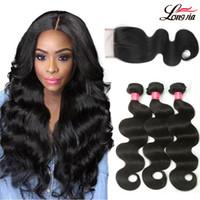 Wholesale 3bundles brazilian weave for sale - A Brazilian Body Wave Bundles With X4 Lace Closure Deals Unprocessed Brazialin Virgin Hair Body wave Bundles with Lace Closure