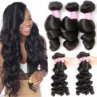 Wholesale hair weave hairstyles - Brazilian Loose Wave 7A Virgin Hair Bundles Unprocessed Remy Human Hair Extensions 3 4 Bundles Wavy Hair Weave Mink Loose Wave Hairstyles 1B