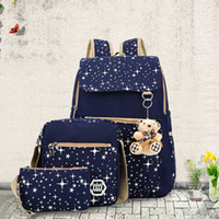 Wholesale canvas dots backpacks for girls - Wholesale- 2018 Large Capacity Cute Backpack With Bear School Bags For Teenagers Girls Backpacks Dots Printing laptop bag