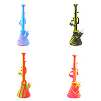 Wholesale use water smoking pipe for sale - Group buy Unique AK47 design Silicone Bong Colorful Silicone Dab Rig Water Pipes silicone pipe smoking Oil Colorful Pipe two use water pipe