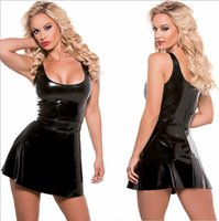 Wholesale Dresses Leather Look - Gogoboi Women Wet Look Catsuits Costume Dress Black Faux Leather Mini Micro Party Fetish Leotard PVC Clubwear Sexy Latex Bodycon