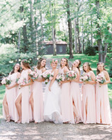 Wholesale blush chiffon ruffle wedding dress resale online - Blush Pink Sexy Halter Summer Beach Chiffon Long Bridesmaid Dresses Sleeveless Side Split Maid Of Honor Gowns Cheap Wedding Guest Dresses