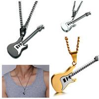 neueste gitarren großhandel-Neueste Emaille E-gitarre Anhänger Halsketten Schwarz Gun / Gold Überzogene Seil Kette für Männer / Frauen Punk Rock Musik Schmuck Geschenk Zubehör 53 MM
