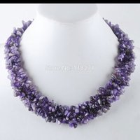 Wholesale gem weave - Free Shipping Purple Crystal Chip Gem Stone Beads Weave Necklace 17 1 2 Inches PH3070