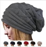 Wholesale oversized beanie cap resale online - Unisex Men Women Knit Baggy Beanie Winter Hat Ski Slouchy fashion knit crochet solid warm baggy beanie hat oversized slouch beanies KKA6129