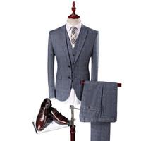 Wholesale best wedding dresses for groom online - MarKyi Men Light Grey Wedding Suit Groom Tuxedos Best Suits for Male Jacket Pants Vest Tie Formal Dress Men Suit Set