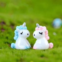 ingrosso piantando bambini in giardino-Rosa Blu Testa di Cavallo Bella Mini Bambola Ornamento FAI DA TE Miniature Per Terrario Fata Giardino Décor Muschio Pianta Grassa Pot Bambini Decorazione Della Stanza