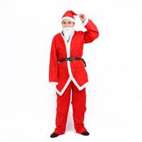 trajes rojos para hombre al por mayor-5pcsc Algodón Navidad Santa Cosplay Set Sombrero Disfraces Adultos Hombres Ropa Disfraces Vestido Rojo Fiesta de Carnaval 11dz hh