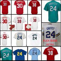 Wholesale cheap green shorts - Ken 24 30 Seattle 22 Robinson Cano Jersey Men's Cheap FlexBase CoolBase Mesh Green White Blue Red Baseball Jerseys