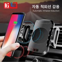 Wholesale iphone auto mount - Auto Open Autohouder Qi Draadloze Oplader Voor iPhone X 8 Plus Samsung S8 S9 Auto Mount Fast Charger draadloos Opladen Pad