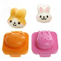 Wholesale chocolate rabbit cartoon - DIY Cooking Tools Boiled Egg Sushi Rice Mold Bento Maker Cartoon Rabbit Bear Design Sandwich Cutter Decorating Mould Hot Sale 2 5sr Z